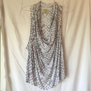 Printed Anthropologie Grey Top- Size XL